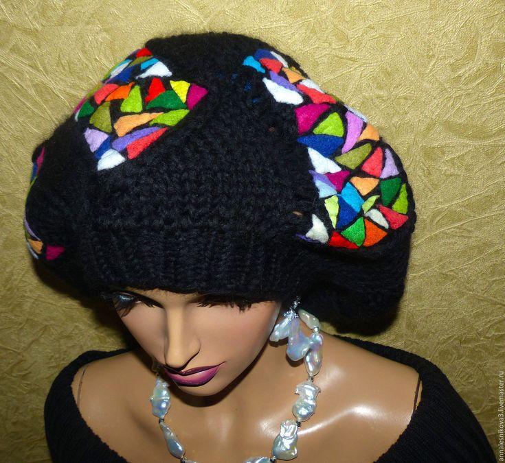 """Купить Берет """"МОЗАИКА ГАУДИ"""" - шапка вязаная, вязаная шапочка, авторские головные уборы"""