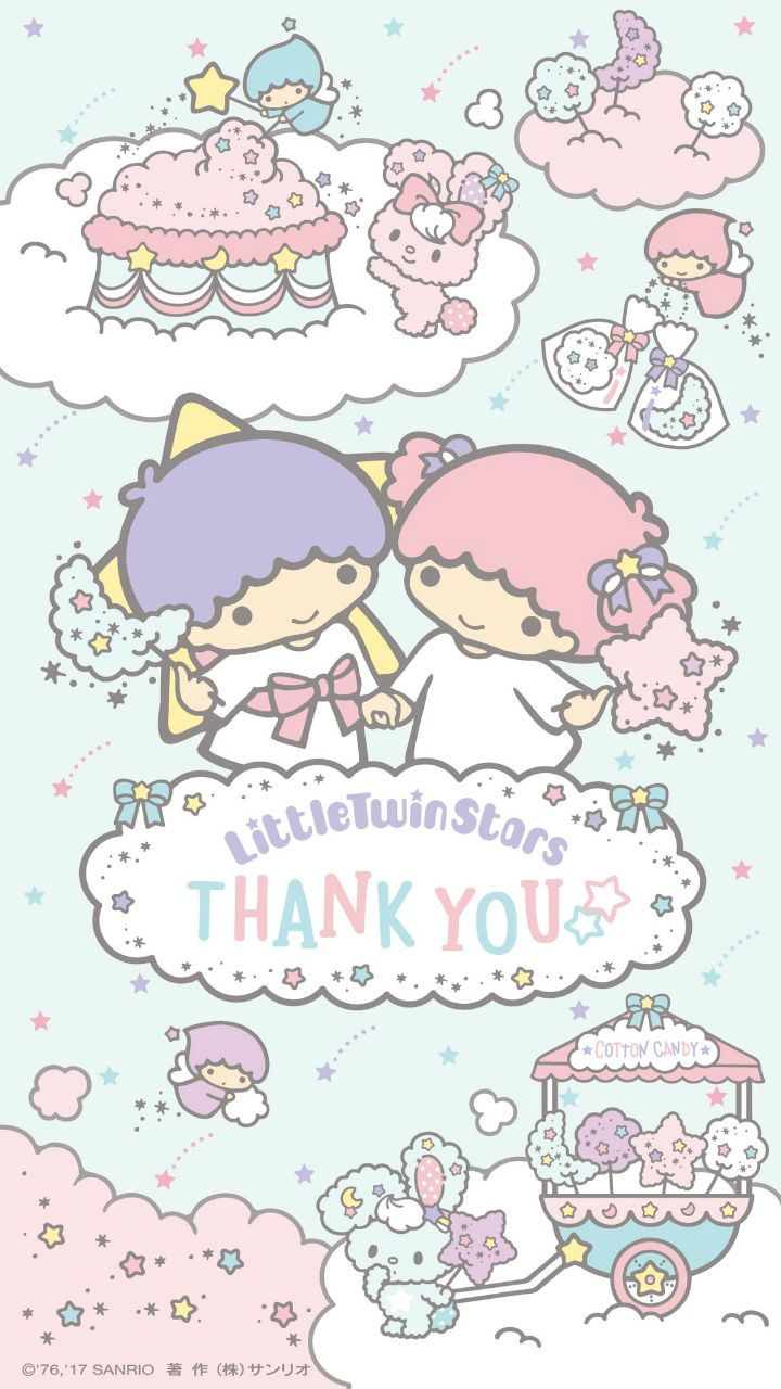 【Android iPhone】Little Twin Stars Wallpaper 201712 十二月桌布 日本官方Twitter生日特別版