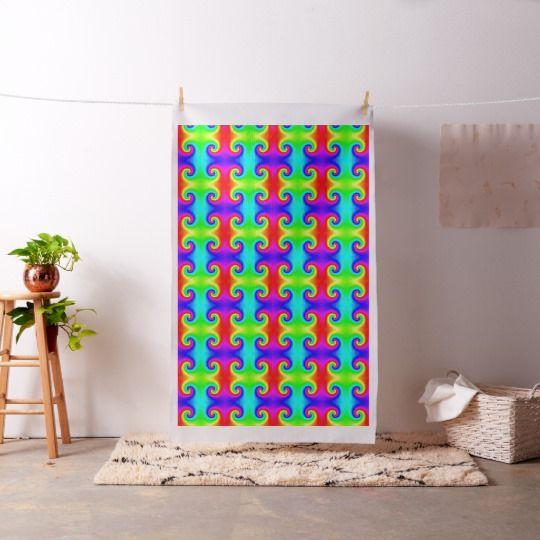 Tie-Dye Rainbow Swirl Fabric