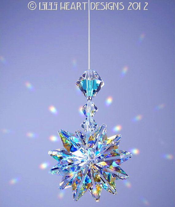 m/w Swarovski Crystal Sun catcher Aurora Borealis *LILY* Octagons Star Car Charm Lilli Heart Designs