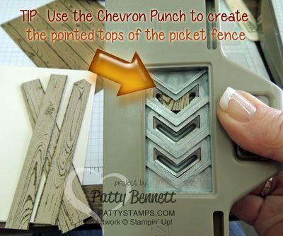 Punch Tip: use your Stampin Up Chevron punch to make a pointed tip for fence boards using the Hardwood Background stamp! by Patty Bennett www.PattyStamps.com