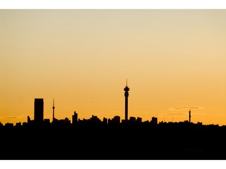 Johannesburg skyline at sunset.