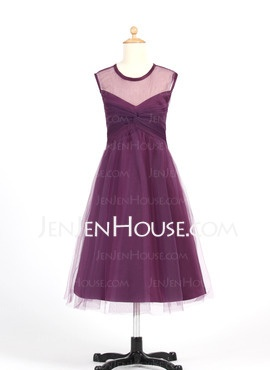 A-Line/Princess V-neck Knee-Length Satin Tulle Flower Girl Dresses With Ruffle (010007655) - JenJenHouse    89.45 online, so there's shipping too.    Could order in pearl pink, a grey or nude colour