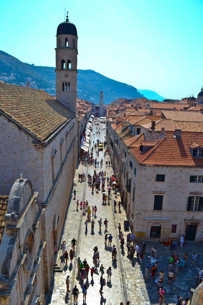 Dubrovnik, Croatia - Stradun (Placa), the limestone-tiled main street within the Old Town's city walls.