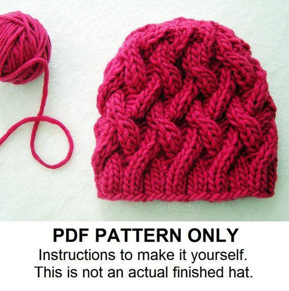 Knit Hat Knitting Pattern  Cabled Hat Pattern by FiddlestyxStudios