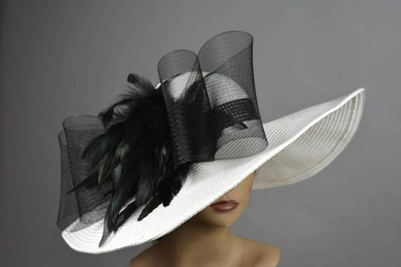 White Black Church Wedding Hat Head Piece Kentucky Derby Hat