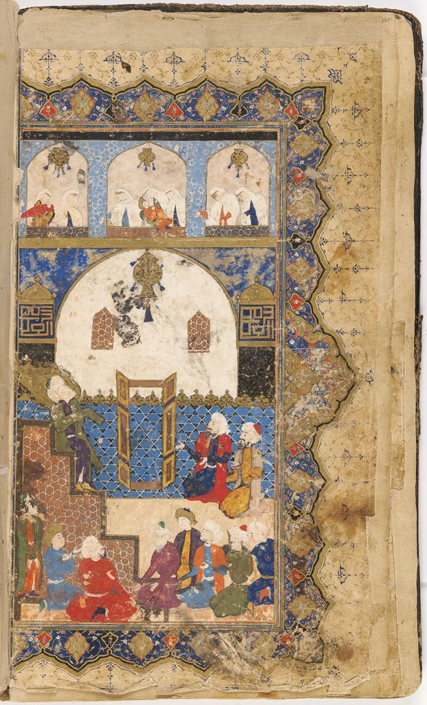 prophet preaching in a mosque painting verso text recto folio