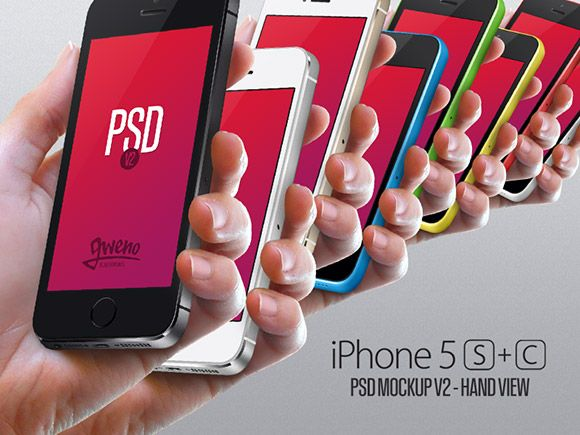 A useful iPhone 5S & 5C hand view mockup set. Free PSD created and released by Gwénolé Jaffrédou.