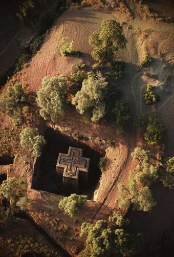 An aerial view of Beta Giyorgis church cut out of bedrock. Lalibela, Ethiopia.   ©James P Blair