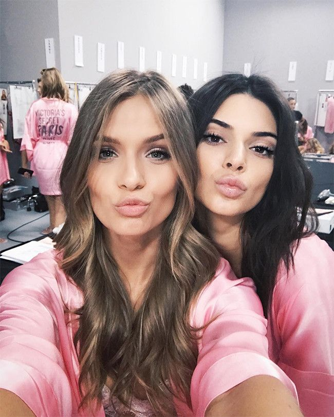"""Josephine Skriver & Kendall Jenner from Backstage at the 2016 Victoria's Secret Fashion Show  """"Kisses from the dressing room! First show is about to start!!"""" Skriver wrote on Instagram."""