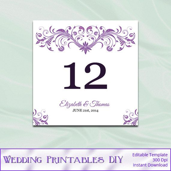 purple table number template diy printable wedding table number tent cards editable text