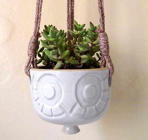 Hanging Ceramic Owl Planter with Macrame by lovebugkiko on Etsy