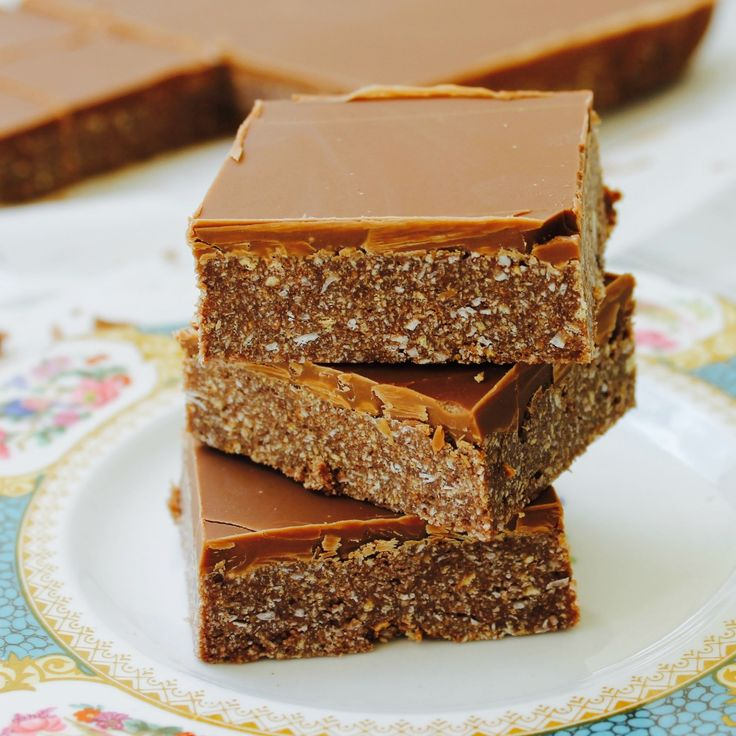 Chocolate Rough Squares by Carolyn Lorraine. No cooking required, but be warned, they have a tendency to disappear.