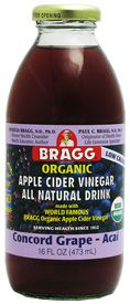 My new addiction: Bragg's Apple Cider Vinegar Drink, Concord Grape - Acai flavor...SO delish, and SO good for you. I get mine at Wegmanns.