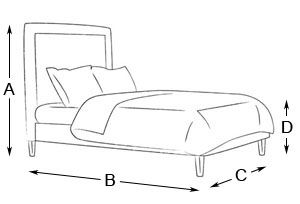Emperor Size bed Kipling Upholstered Bed Drawing