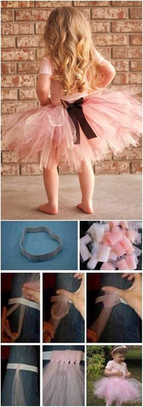 DIY Easy No-Sew Tutu for Little Girls #craft #tutu #kids