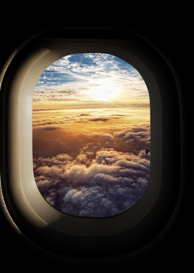 Heavenly sky seen through the windows of an airplane, Germany