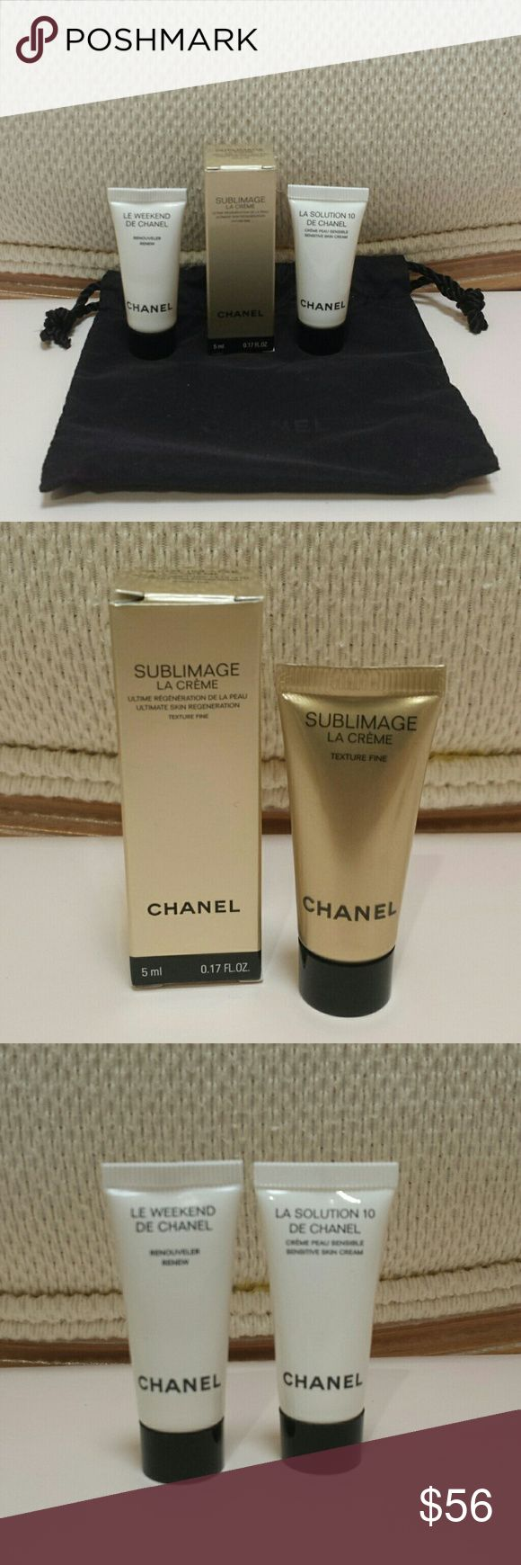 Chanel Skincare Bundle - Sublimage La Creme .17 oz $40 - Le Weekend DE Chanel .17 oz $11.5 - La Solution 10 DE Chanel .17 oz $13.9 - Dust Bag  All items are new and never tested.  No trades.  Please submit any offers through the offer option. CHANEL Makeup