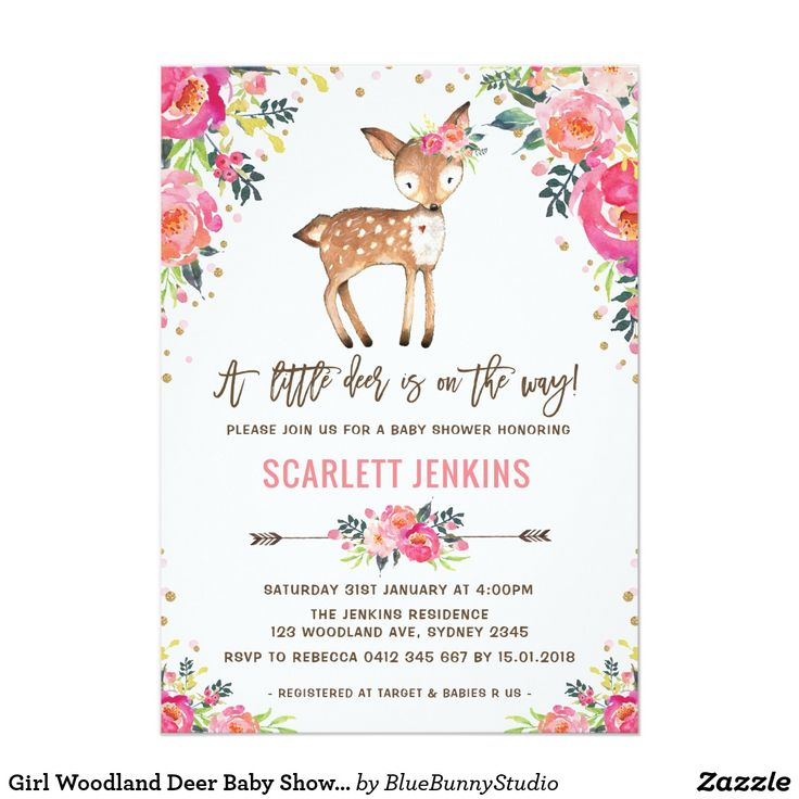 Girl Woodland Deer Baby Shower Invitation Floral | Zazzle.com