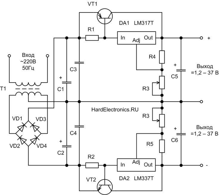 LM337T и LM317T схема включения с транзистором