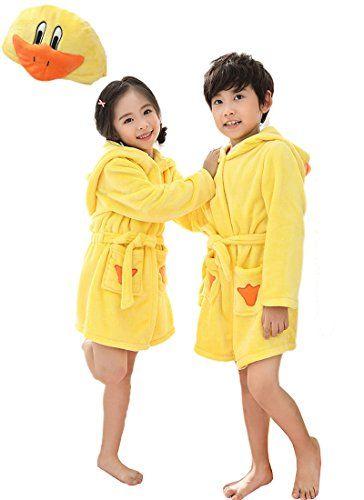 EPLAZA 3-6 Year Girl Boy Flannel Hooded Cute Animal Robe Sleepwear Kid  Bathrobe Convertible Pillow 352c541eb