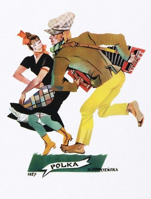 """Zofia Stryjeńska (Polish, 1891-1976) Polka z teki """"Tańce polskie"""". 1927 г."""