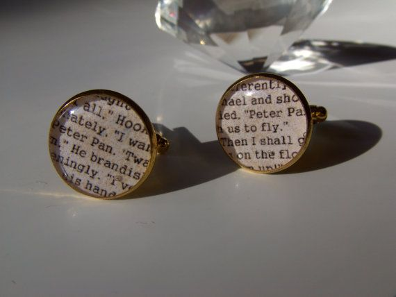 Peter Pan Inspired Cufflinks Gold Plated Free UK by LiteratoShop, £15.00