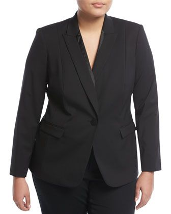 Virginia Satin-Trim Jacket, Black, Plus Size by Lafayette 148 New York Plus at Neiman Marcus Last Call.