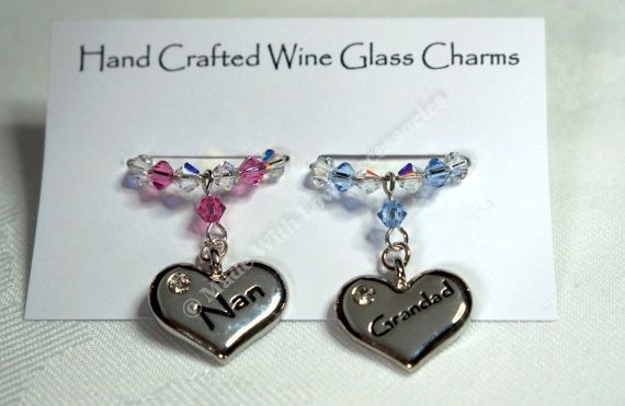 Wine Glass Charms - Nan & Grandad Wine Glass Charms  - Swarovski Crystal, Christmas Gift, Stocking Fillers, Anniversary Gift
