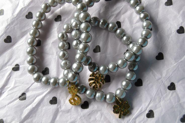 Trío Pulseras perlas y Golfi