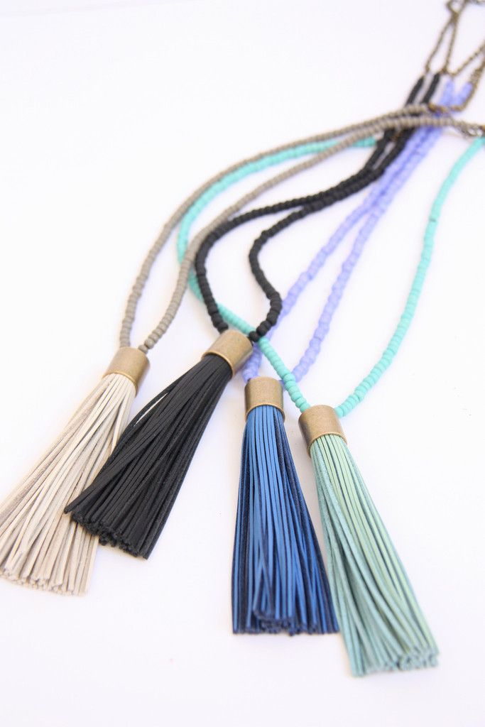 Cloud Nine Creative - Leather Tassel Necklace - Cornflower Blue