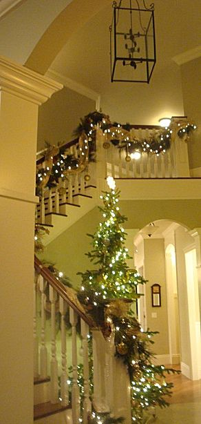 .Ideas, Christmas Time, Christmas Entryway, White Lights, Christmas Stairs, Christmas Decor, Holiday Decorating, Christmas Trees, Christmas Staircases