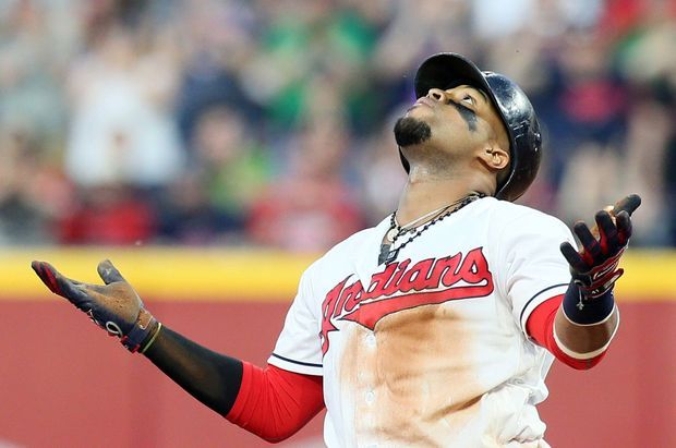 Cleveland Indians Carlos Santana, after he doubled for 2 rbi's, during the game against the Houston Astros at Progressive Field, on April 26, 2017.   (Chuck Crow/The Plain Dealer). Indians won 7-6