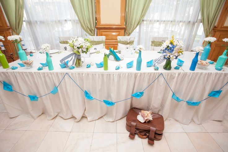 Nautical bridal table decoration, front view, homemade (diy)