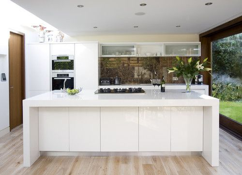 Quartz Countertop Height : White quartz countertops with Waterfall edge. Emperador Dark marble ...