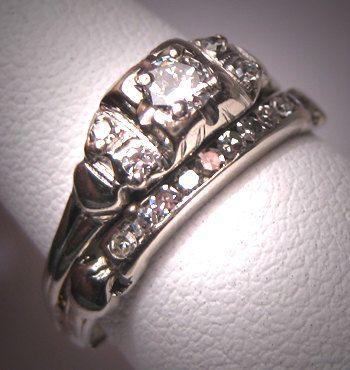 Antique Diamond Wedding Ring Set Vintage Art by AawsombleiJewelry, $1895.00