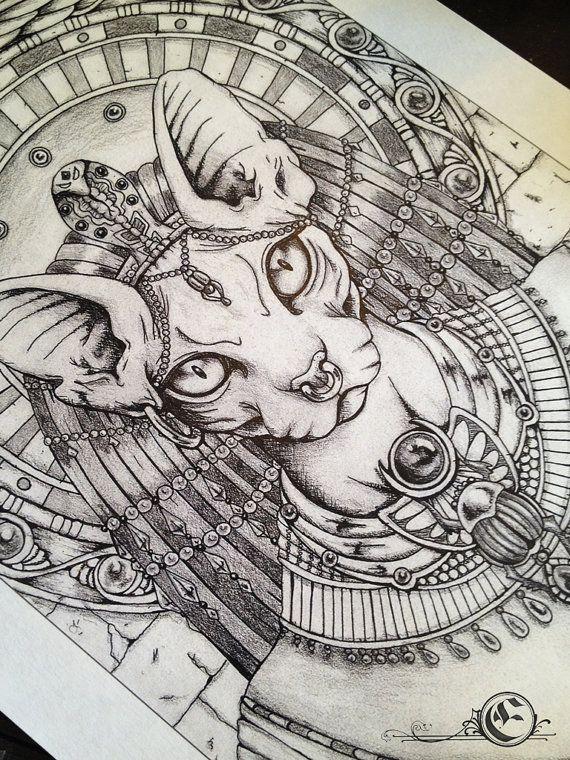 A4 Bastet Illustration Drawing Print van ArtofElorhan op Etsy