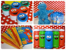 Sesame Street Birthday Party - use primary colors for decorations - cute bubbles as favors