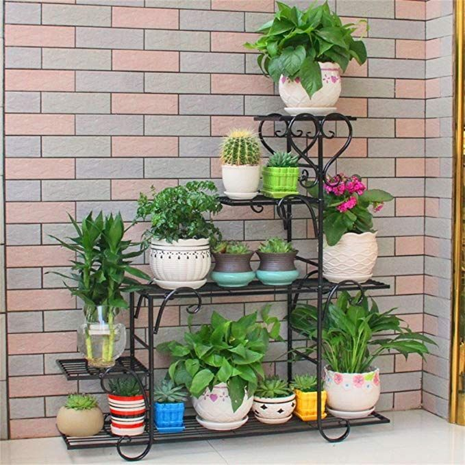 Floral Frame Outdoor Plant Stand Iron Metal Flower Racks 4 Tier Standing Shelf For Plant Flower Pot Sta Indoor Flower Pots Plant Stands Outdoor Indoor Flowers