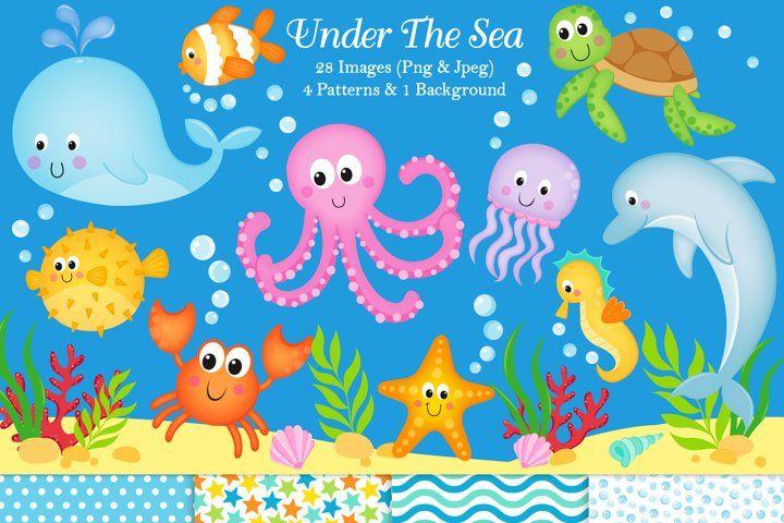 Under The Sea Clipart Under The Sea Graphics Illustration 75434 Illustrations Design Bundles In 2021 Sea Clipart Under The Sea Clipart Sea Illustration