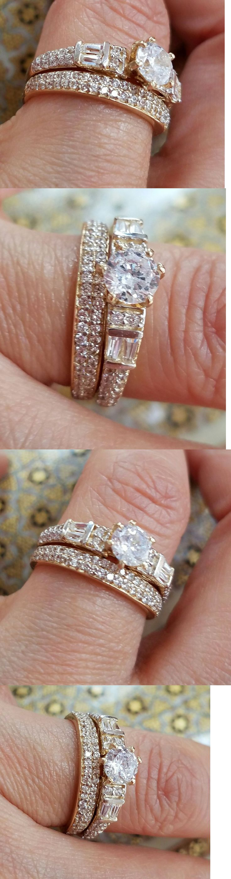 ebay eheringe ebay wedding ring sets Diamonds and Gemstones Solid 14K Yellow Gold 0 50 Round Man Made Diamond Engagement And