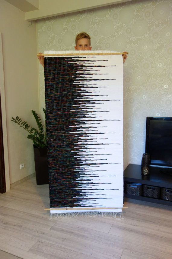 Large wall hanging Large tapestry Woven black and by LaleShopNiki