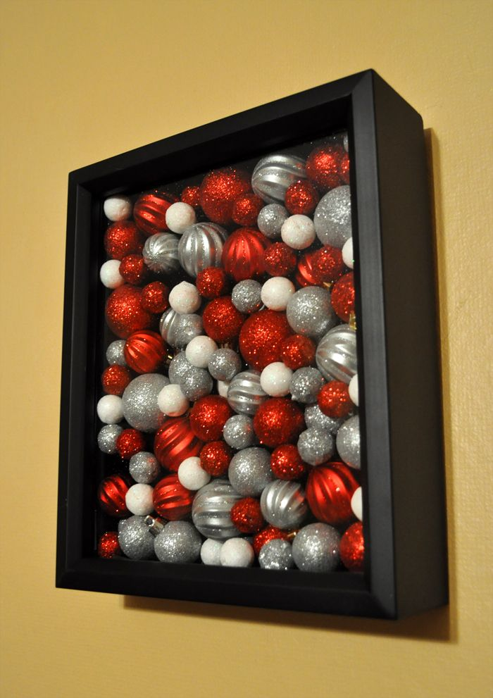 Ornaments in a shadowbox. (DIY Christmas decoration inspired by Pinterest).