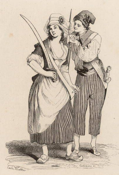Sans culottes: essentially a group of working class men who supported the revolution; wore trousers instead of knee breeches to distinguish themselves from the nobility and more affluent