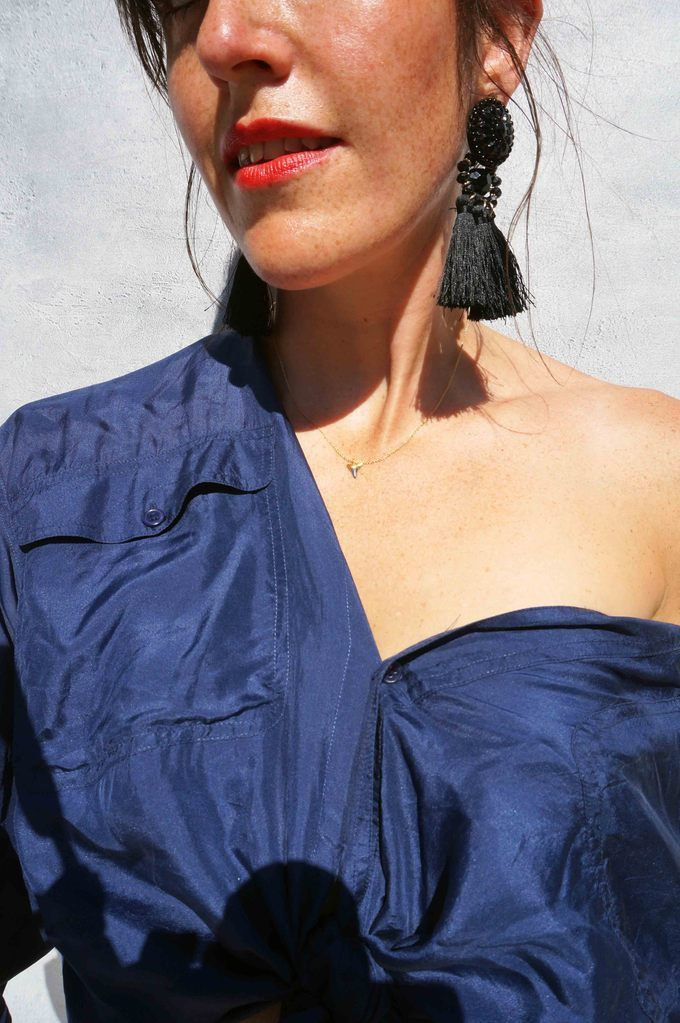 efeeef2d7b38c Vintage 90 s Oversized Blue Silk Shirt. This vintage silk shirt is a corker  with its