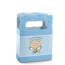 Angel Baby Boy - Mini Personalized Baptism Favor Boxes
