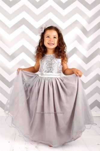 Flower-Girl-Dress-Sequins-Pageant-Party-Dress-Long-Dress