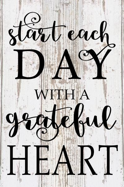 Start Each Day With A Grateful Heart Inspirational Wood Sign Canvas Wall Art Thanksgiving Christmas - Heartland Canvas and Signs