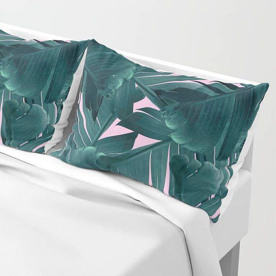 Green Pillow Sham Set Banana Leaf Pillow Case Tropical