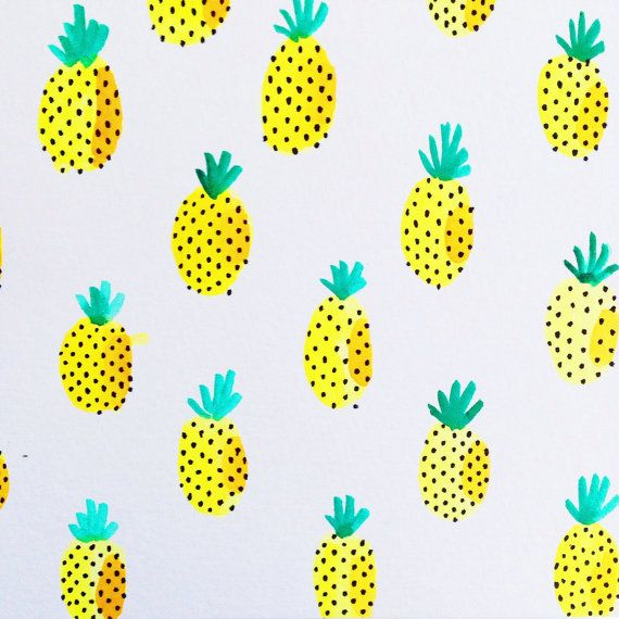 Bright pineapple print watercolor